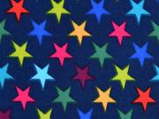 RESTSTÜCK 42 cm Jackenstoff Softshell bunte Sterne, dunkelblau
