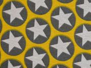 Alpenfleece Sweat Sterne im Kreis, senfgelb