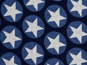 RESTSTÜCK 92 cm Alpenfleece Sweat Sterne im Kreis, nachtblau