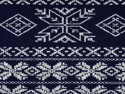 RESTSTÜCK 72cm Strick Norweger Muster dunkelblau