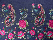 RESTSTÜCK 68 cm Jeans Bordüre Paisley & Blumen Stickerei,