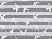 Jersey Streifen Schwalben Glitzer, grau weiß