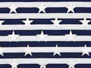 Jersey Streifen Sterne Glitzer, dunkelblau weiß