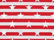 Jersey Streifen Sterne Glitzer, rot