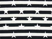 Jersey Streifen Sterne Glitzer, schwarz weiß