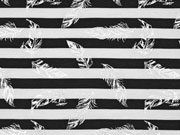 Jersey Streifen Federn Glitzer, schwarz