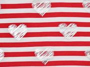 Jersey Streifen Herzen Glitzer, rot weiß