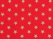 Baumwollstoff Sterne 1 cm, gold auf rot