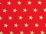 Baumwollstoff Sterne 1,6 cm, gold auf rot
