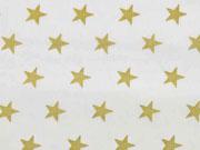 Baumwollstoff Sterne 1,6 cm, gold auf cremeweiß