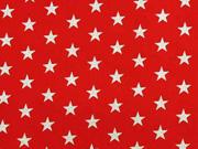 Baumwollstoff Sterne 1 cm, silber auf rot