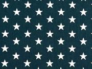 Baumwollstoff Sterne 1 cm, silber auf tannengrün