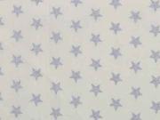 RESTSTÜCK 50 cm Baumwollstoff Sterne 1 cm, silber auf cremeweiß