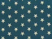Baumwollstoff Sterne 1 cm, gold auf tannengrün