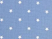 RESTSTÜCK 28 cm weicher Musselin Sterne, rauchblau