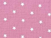 RESTSTÜCK 27 cm weicher Musselin Sterne, dunkles Altrosa