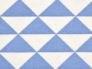 RESTSTÜCK 75 cm Dekostoff Dreiecke, jeansblau weiss