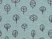 Dekostoff kleine Bäume, dunkles mint