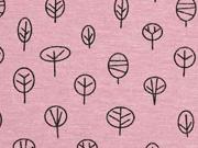 Dekostoff kleine Bäume, altrosa