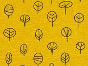 Dekostoff kleine Bäume, ocker
