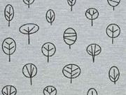 Dekostoff kleine Bäume, grau