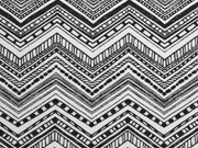 RESTSTÜCK 32 cm Dekostoff Zickzack Inkamuster, schwarz weiß