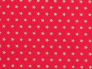 Baumwollstoff Mini Sterne 0,4 cm, gold auf rot