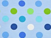 Jersey große Punkte,  hellblau