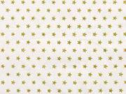 RESTSTÜCK 69 cm Baumwollstoff Sterne 0,4 cm, gold cremeweiß