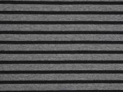 RESTSTÜCK 37 cm Jersey Streifen schwarz  anthrazit