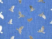 RESTSTÜCK 73 cm Jeansstoff Schwalben, gold metallic jeansblau