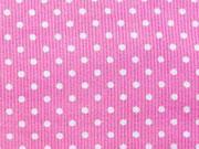 RESTSTÜCK 40 cm Feincord Pünktchen, weiss auf rosa