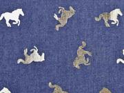 Jeansstoff Pferde, gold Glitzer dunkelblau