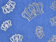 Stretchjeansstoff Kronen, goldfarbig jeansblau