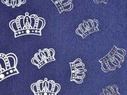 Stretchjeansstoff Kronen, silberfarbig dunkelblau