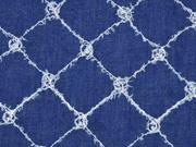 Jeansstoff bestickt Rauten Fransen, jeansblau