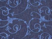 Jeansstoff bestickt Kelchblumen, dunkelblau