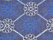 Jeansstoff bestickt Blumen, natur dunkelblau