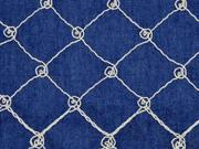 Jeans bestickt Rauten Kringel, natur jeansblau