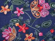 RESTSTÜCK 38 CM leichter Jeans bestickt Blumen Bordüre, dunkelblau