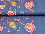 RESTSTÜCK 133 cm Jeansstoff bestickt Bordüre Blumen, aprikot jeansblau