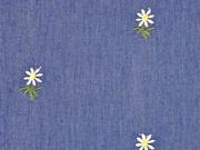RESTSTÜCK 42 cm Jeansstoff bestickt Edelweiß, jeansblau