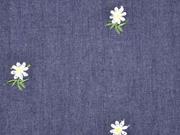 Jeansstoff bestickt Edelweiß, dunkelblau