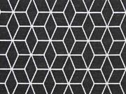 RESTSTÜCK 97cm Jacquard Jersey graphisches Muster, schwarz
