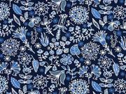 Reststück 120cm Jersey Blumenmuster dunkelblau