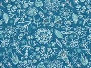 Jersey Blumenmuster mint