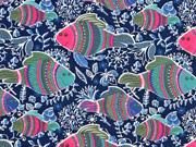 Jersey Fische und Blumen dunkelblau