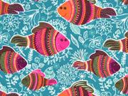 Jersey Fische und Blumen mint