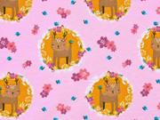 Jerseystoff Rehe Blumen, rosa