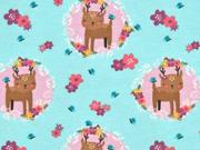 Jerseystoff Rehe Blumen im Kreis, rosa mint